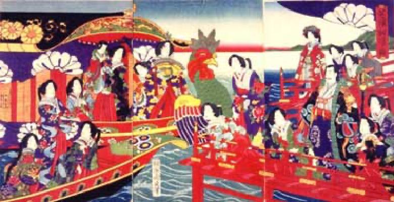 芝札船遊図 明治13年(1880)橋本週延